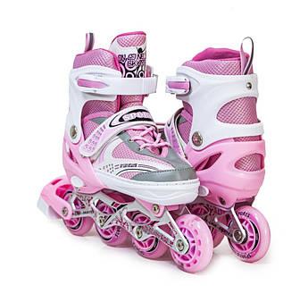 Розсувні ролики Happy Pink розмір 29-33 з підсвічуванням переднього колеса