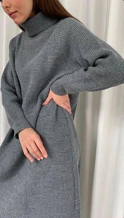 Стильное свободное вязаное платье шерсть, фото 2