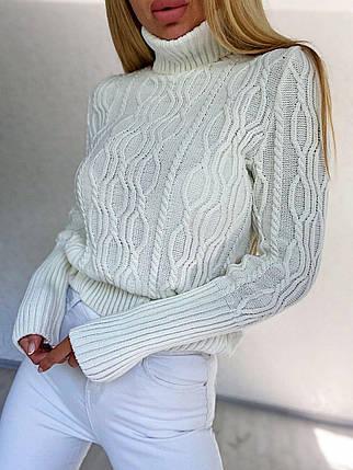 Женский вязаный свитер гольф под горло с узором, фото 2