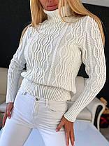 Женский вязаный свитер гольф под горло с узором, фото 3
