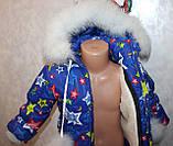 Детский теплый зимний комбинезон и куртка на девочку на овчине с натуральной опушкой на 1 2 3 4 5 лет, фото 2