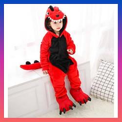 Детский Костюм Кигуруми, Пижама дракон красный для детей на взрослых детские Костюмы пижамы