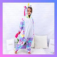 Детский Кигуруми, Пижама Радужный Единорог Звездный для детей на взрослых детские Костюмы пижамы