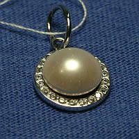 Серебряный кулон с жемчужиной и фианитом 3688