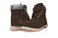 Ботинки мужские Timberland 6 inch Brown Boots (тимберленд) на меху коричневые