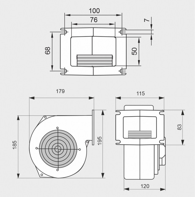 Размеры вентилятора WPA-ZW-120