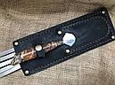 """Подарочные шампура с бронзовыми ручками """"Охотничий трофей"""" с вилкой для снятия мяса, в кожаном колчане, фото 4"""
