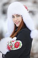 Зимние женские  варежки в стиле хохломы с натуральным мехом песца белые, фото 1