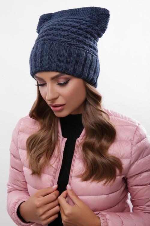 Модная женская шапка на флисе джинс