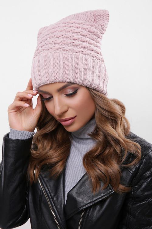 Модная женская шапка на флисе пудра