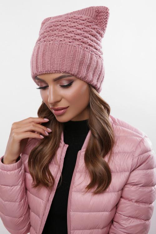 Модная женская шапка на флисе роза