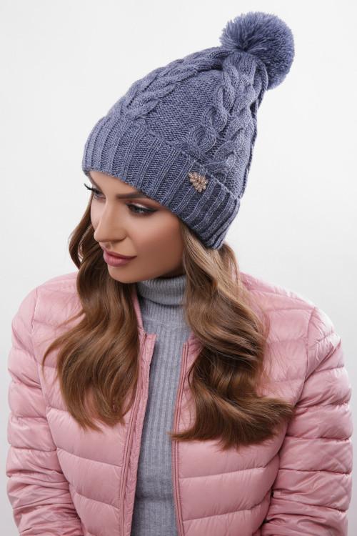 Модная женская шапка с узорами, бубон в цвет пряжи светлый джинс