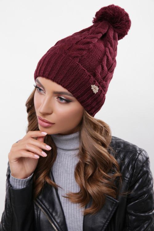 Модная женская шапка с узорами, бубон в цвет пряжи марсала