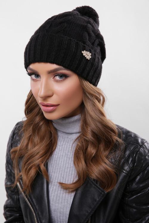 Модная женская шапка с узорами, бубон в цвет пряжи черная