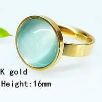 Позолоченное кольцо с круглым камнем кошачий глаз 17 размер