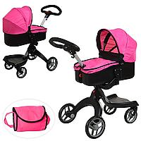 Детская коляска для кукол классическая железная Melogo 9631A Розовая, фото 1