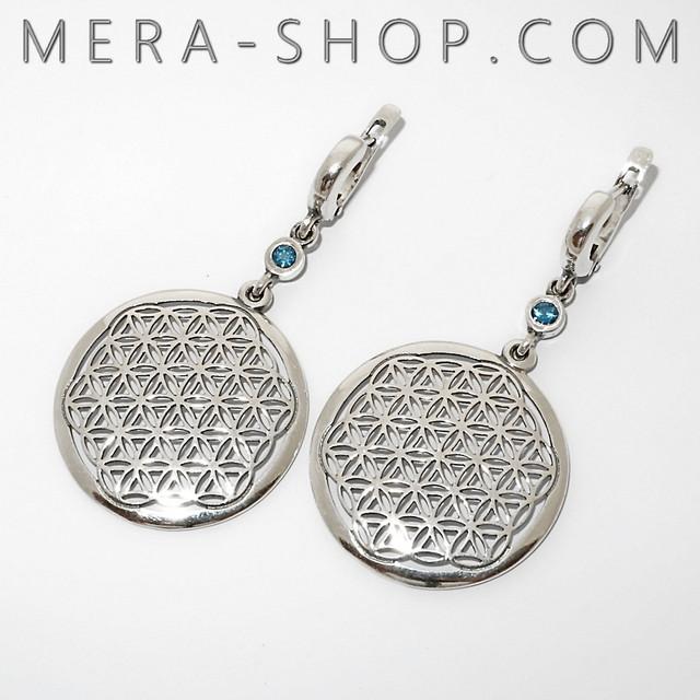 Серебряные сережки с символом Цветок Жизни