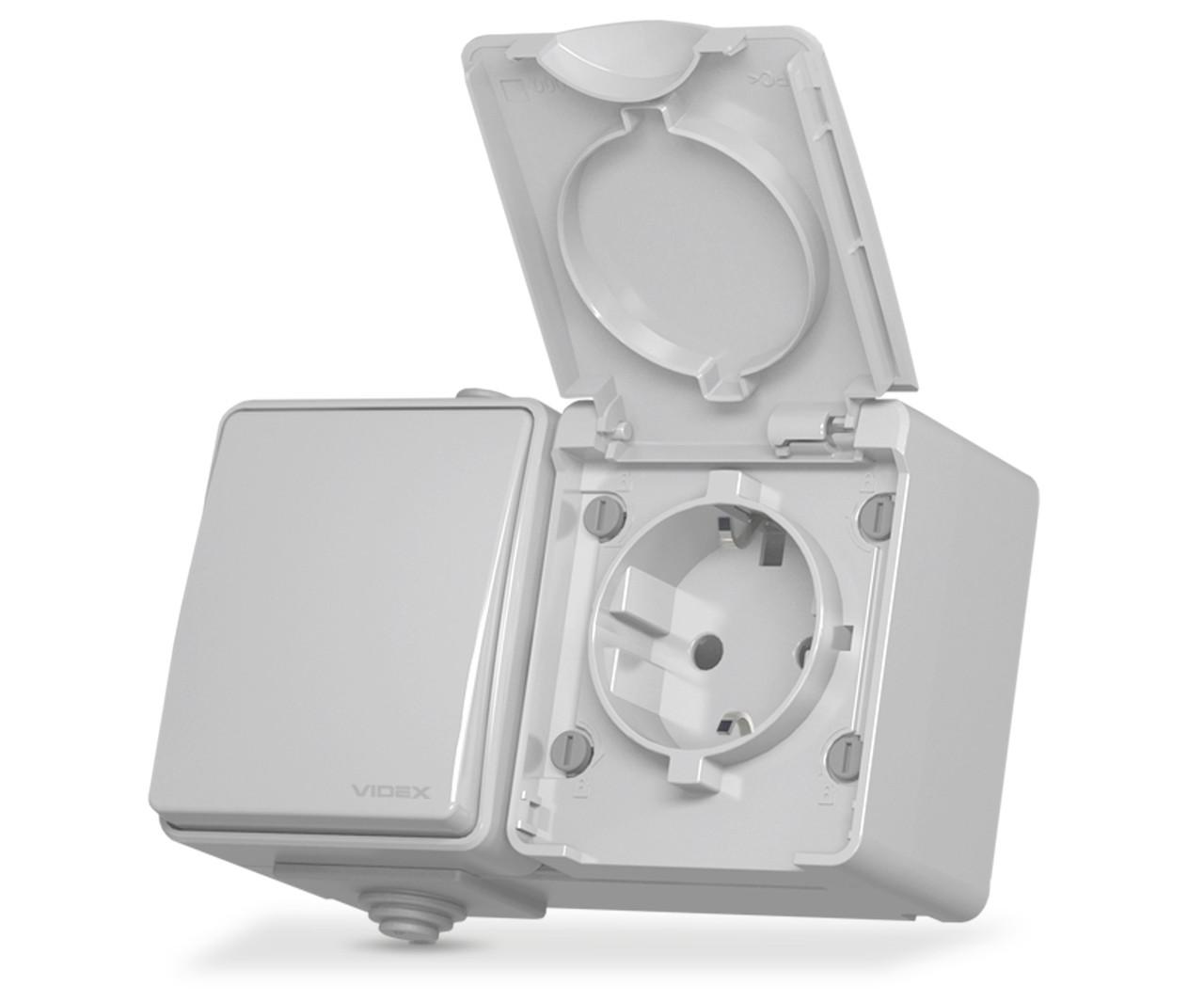 Блок розетка та вимикач зовнішній монтаж із вологозахистом ІР65 Binera Videx