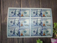 Вафельная картинка съедобная для торта деньги день рождения 20*15 см