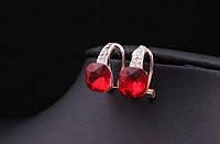 Позолоченные серьги с красными кристаллами код 517