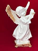 Гіпсова статуетка для інтер'єру Ангел з ліхтарем, золото, 37 см