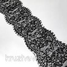 Ажурное французское кружево шантильи (с ресничками) черного цвета шириной 14 см, длина купона 3,0 м.