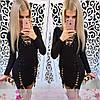 Платье со шнуровкой и люверсами обтягивающее короткое, фото 5