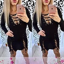 Платье со шнуровкой и люверсами обтягивающее короткое, фото 3