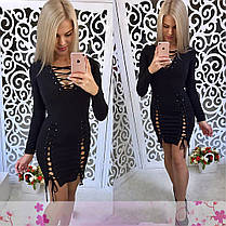 Платье со шнуровкой и люверсами обтягивающее короткое, фото 2