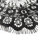 Ажурное французское кружево шантильи (с ресничками) черного цвета шириной 23 см, длина купона 3,0 м., фото 5