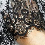Ажурное французское кружево шантильи (с ресничками) черного цвета шириной 23 см, длина купона 3,0 м., фото 7