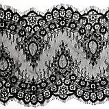Ажурное французское кружево шантильи (с ресничками) черного цвета шириной 23 см, длина купона 3,0 м., фото 8