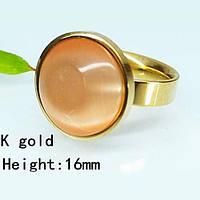 Позолоченное кольцо с круглым камнем кошачий глаз 18 размер