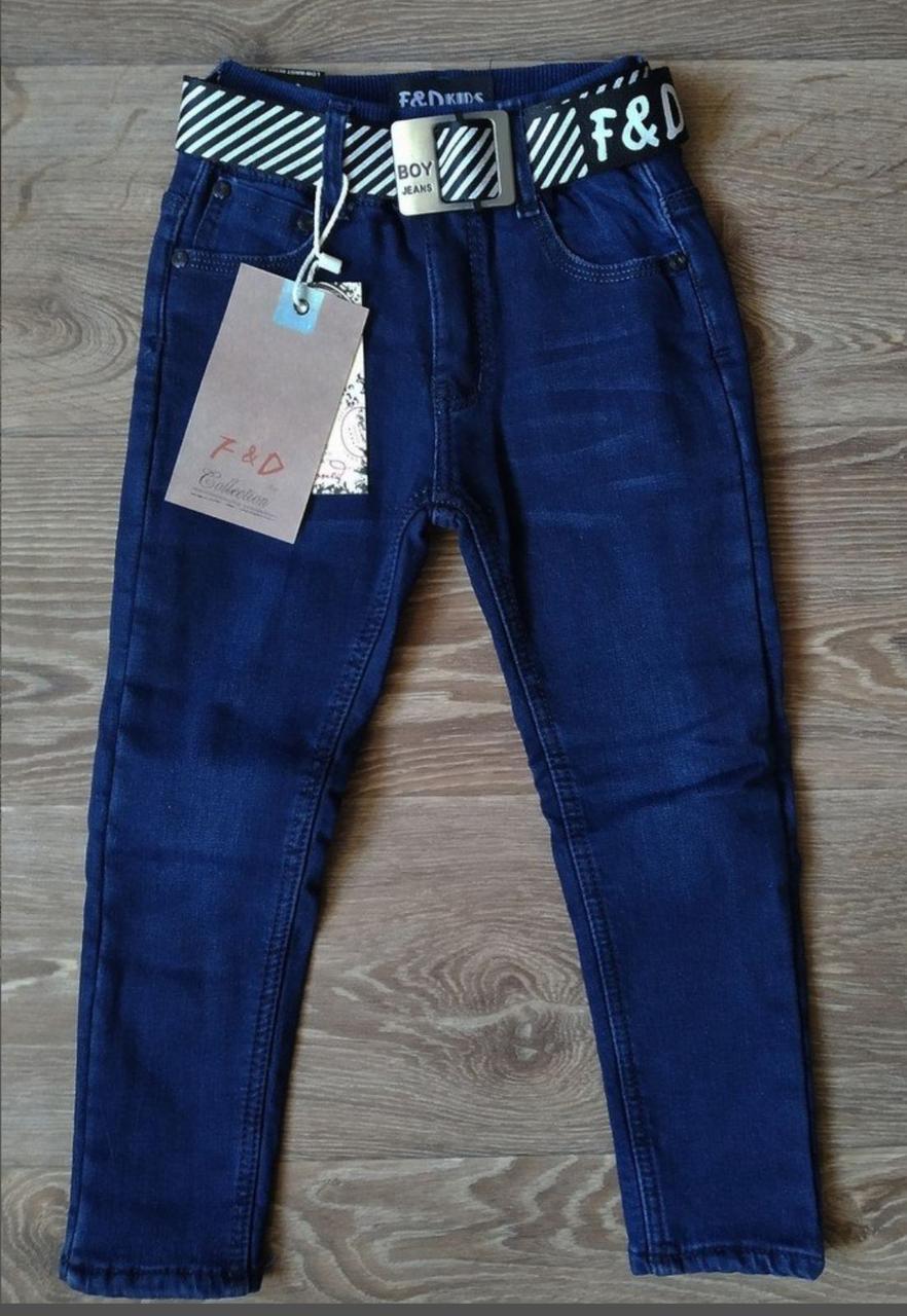 Модные теплые джинсы на флисе для мальчика.