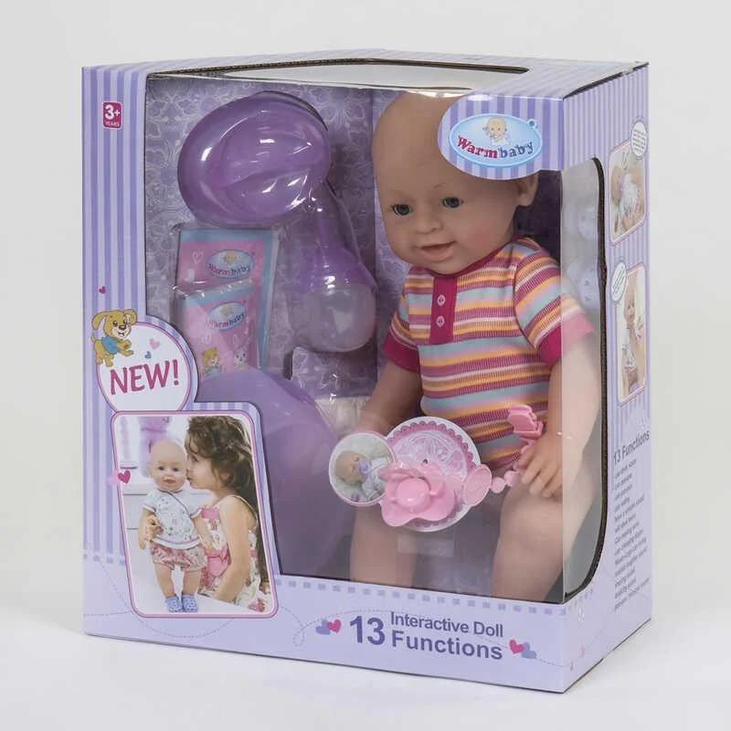 Пупс функциональный для девочки WZJ 030-535 с звуковыми эффектами и на батарейках (13 функций)