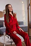 Женская бархатная пижама: укороченный халат и штаны, фото 2