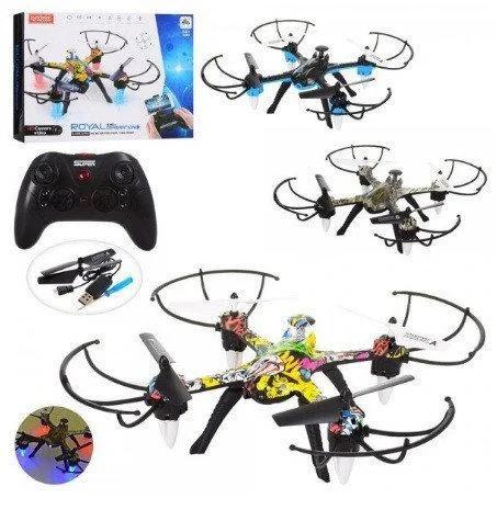 Квадрокоптер дрон на радиоуправлении для мальчика H235 35см свет и USB зарядное (3 вида)