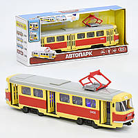 Трамвай 9708 А, подсветка, звук, открываются двери, инерция