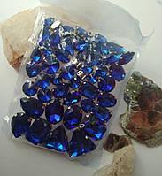 Стразы в цапах, Sapphire, стекло, серебряная оправа. Микс. Цена за 50 шт, фото 1