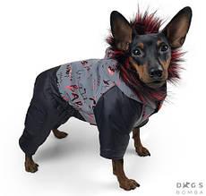 Комбінезон світловидбив 24 см (об'єм до 38см) зимовий розм 2 чорний/червоний  для собак