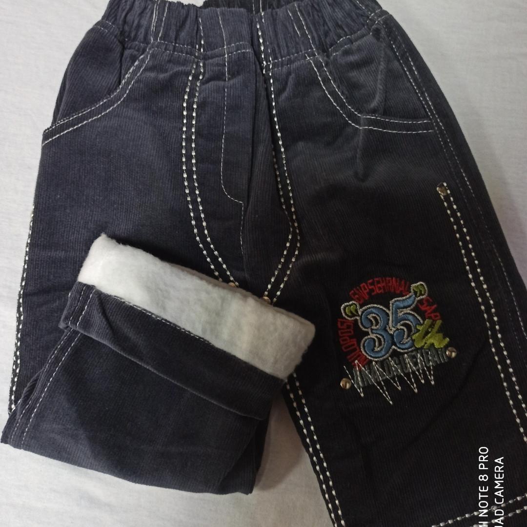 Теплые зимние вельветовые джинсы  для мальчика на байке.