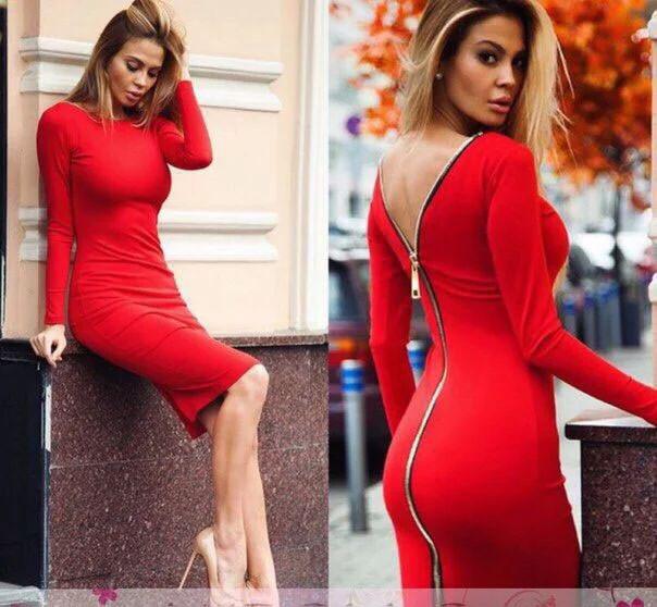Сукня двостороннє на блискавці з розрізом довгий рукав