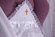 Крыжма для крещения 90х90 с уголком Крестик золото, фото 2