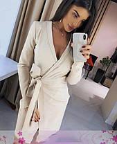 Сукня довгий рукав на запах з поясом і декольте, фото 2