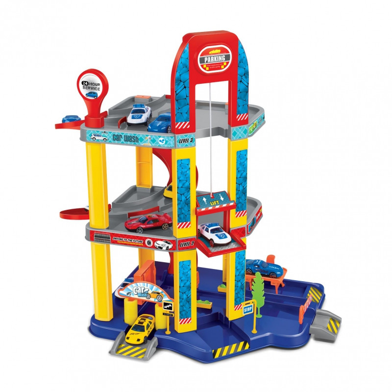 """Трехэтажный игровой набор Guang Wei """"Парковка: Гипермаркет"""" Р 8288 А-1, 38 элементов, 4 машинки в комплекте"""