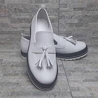Белые кожаные туфли лоферы 36-40