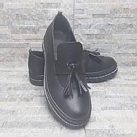 Черные кожаные туфли лоферы 36-40