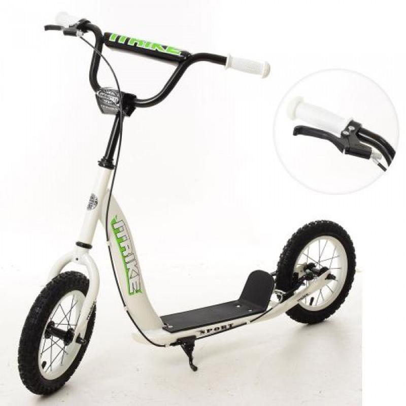Самокат подростковый для ребенка ITrike 2-043-1-W с резиновыми колесами и ручным тормозом