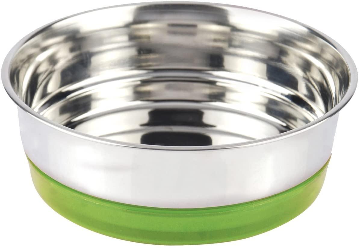 Миска для животных 0,47 л CROCI Neon. Нержавейка на резинке 14 см зеленая