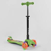 Детский складной трехколесный самокат Best Scooter 92324 Зеленый с фонариком, фото 1